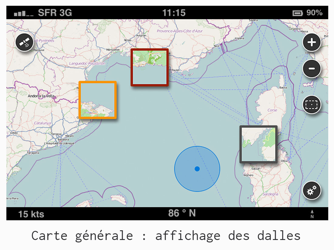 UI/UX design - Application GPS Donia - affichage des dalles