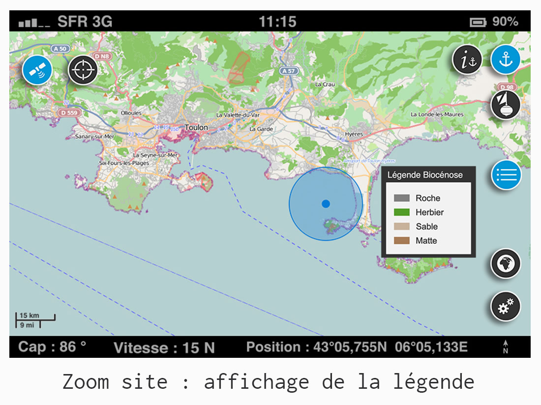 UI/UX design - Application GPS Donia - affichage de la légende