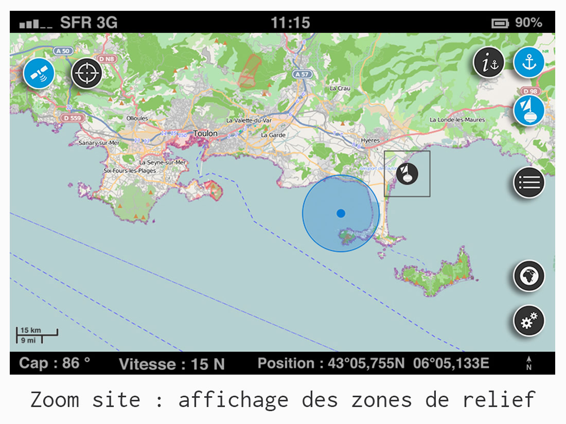 UI/UX design - Application GPS Donia - affichage des zones de relief